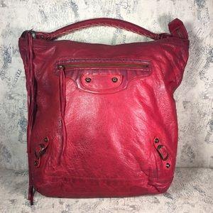 BALENCIAGA Red Lambskin Leather Day Bag